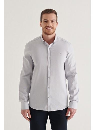 Avva Erkek Düz Düğmeli Yaka Regular Fit Gömlek A11Y2026 Gri